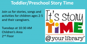 It's Storytime image with text information for day and time