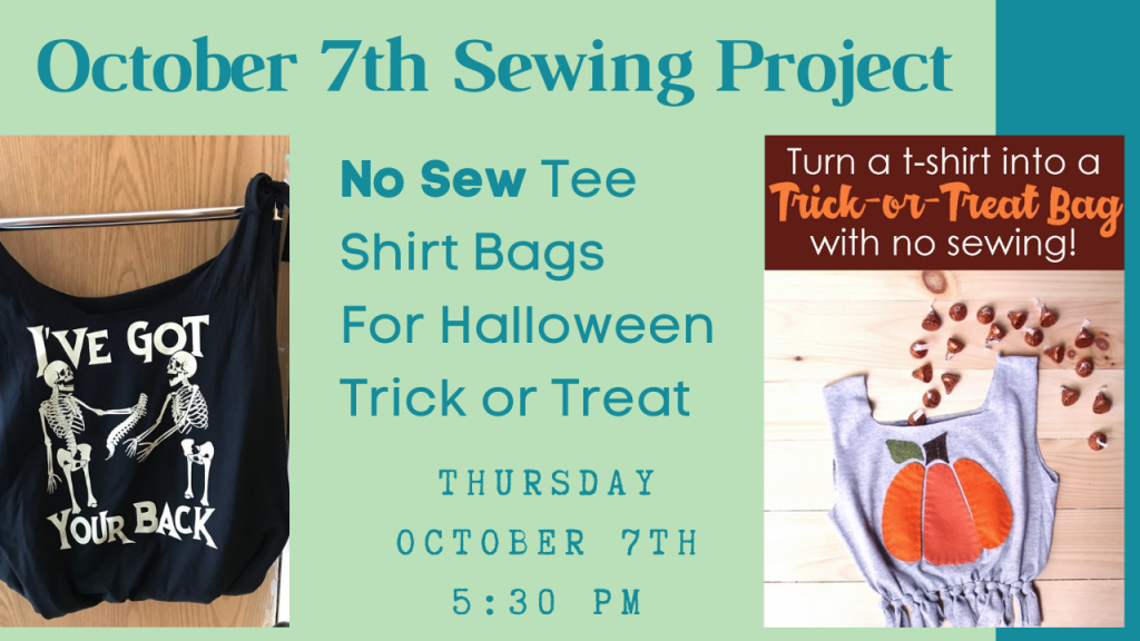 flyer for no seew tee shirt bag sewing class