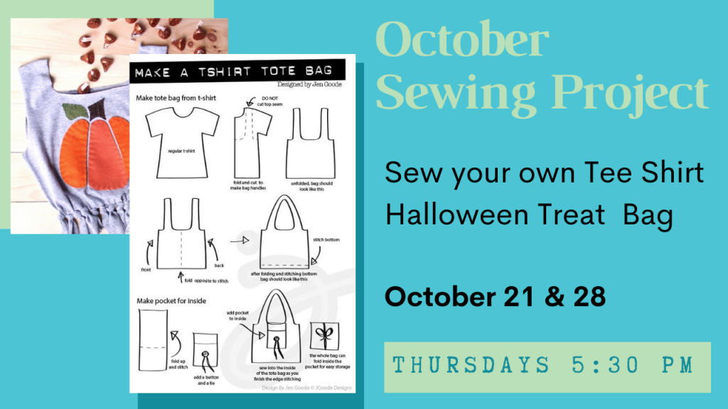Flyer for sewing tee shirt trick or treat bags